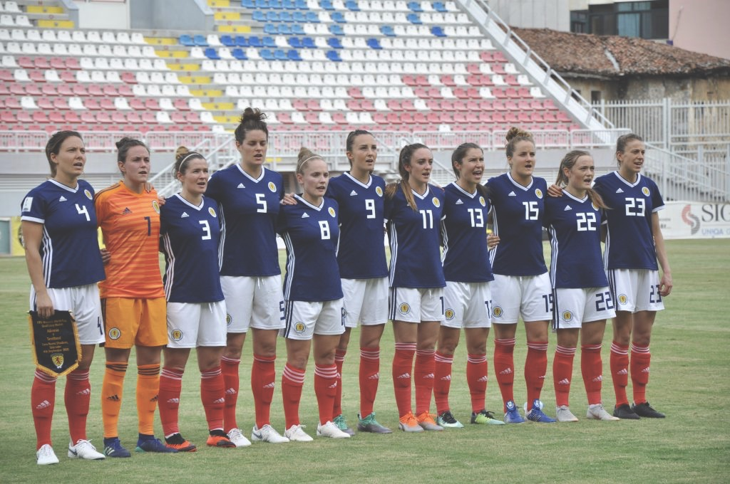 Scottish Women's Football Team Lined up before they take on Albania.