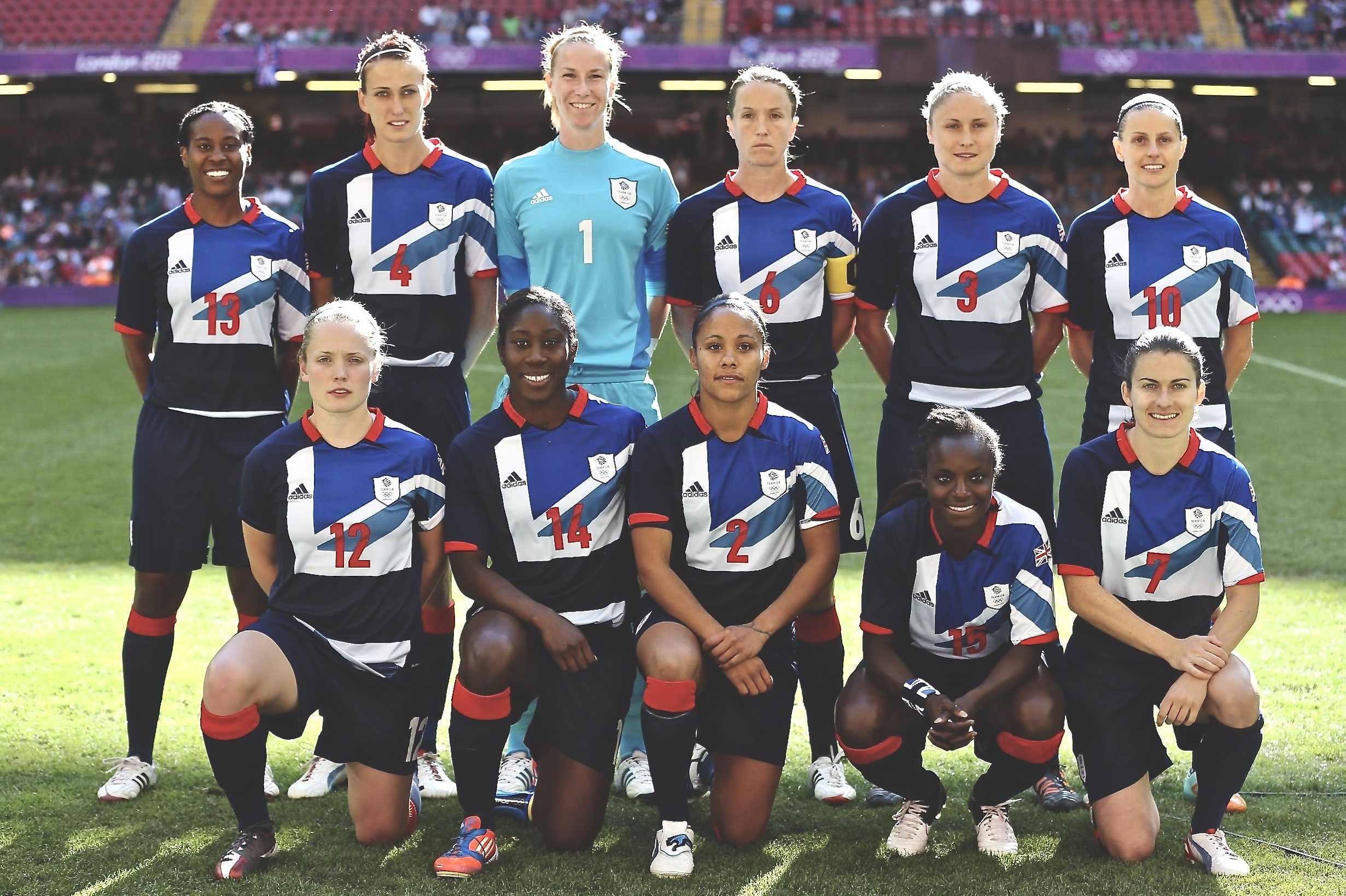 Team GB Women's side line up for a team photo prior to a match at London 2012