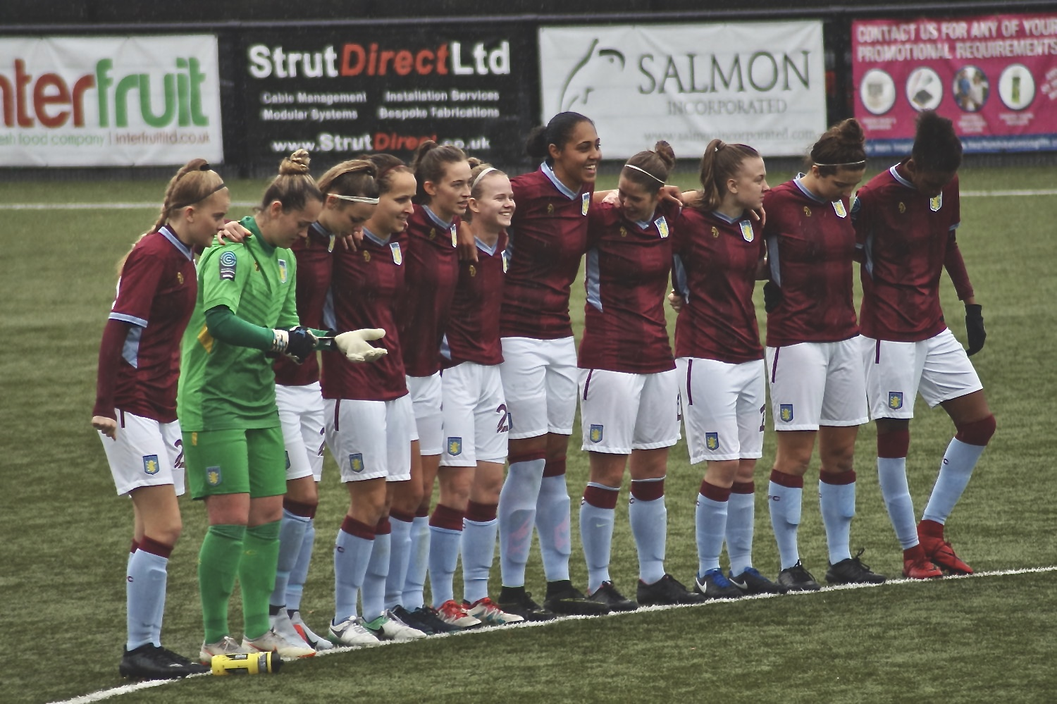 Aston Villa Ladies line up before the match against Durham Women