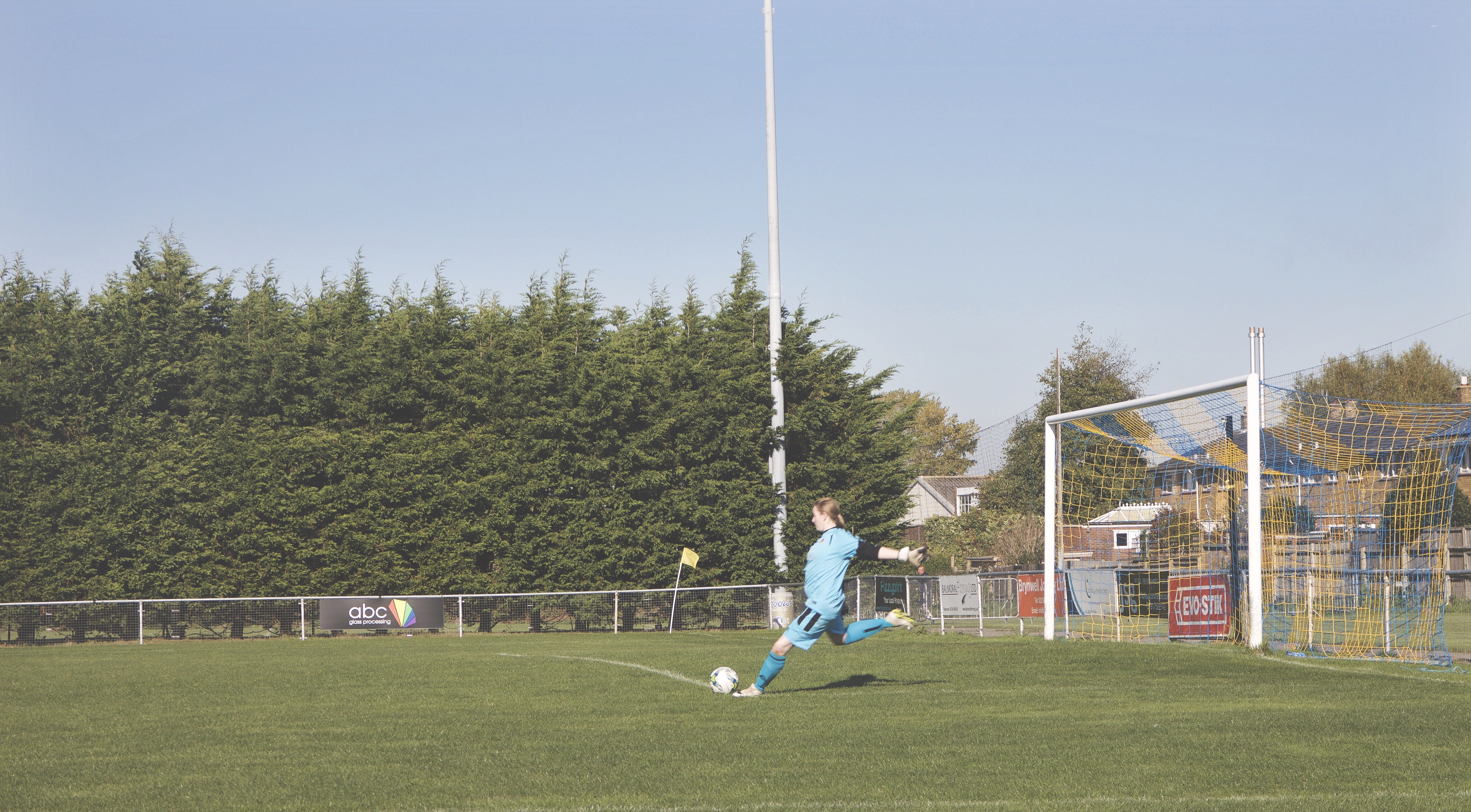 Winchester Flyers' Lauren Higgs takes a goal kick