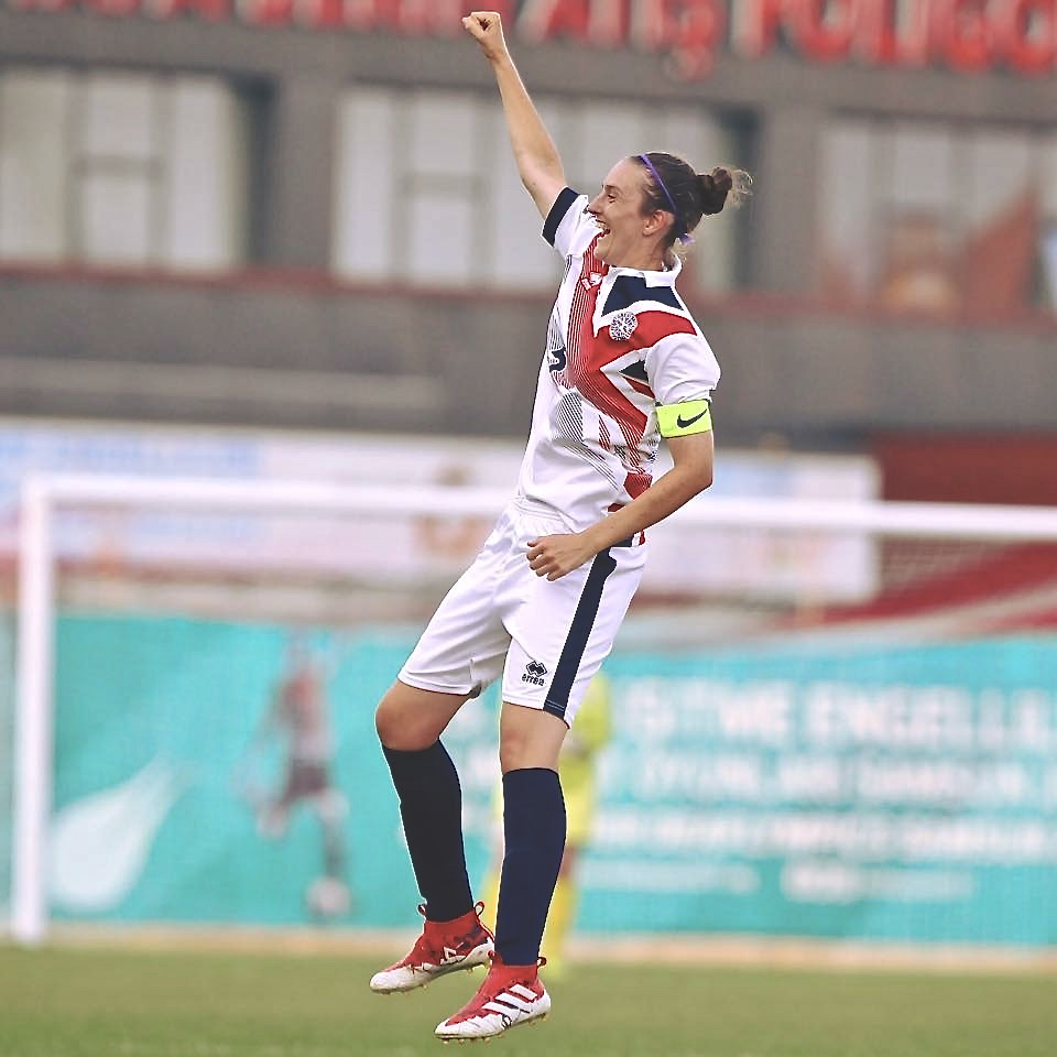 Claire Stancliffe celebrates a goal for Great Britain's Deaf Women's football