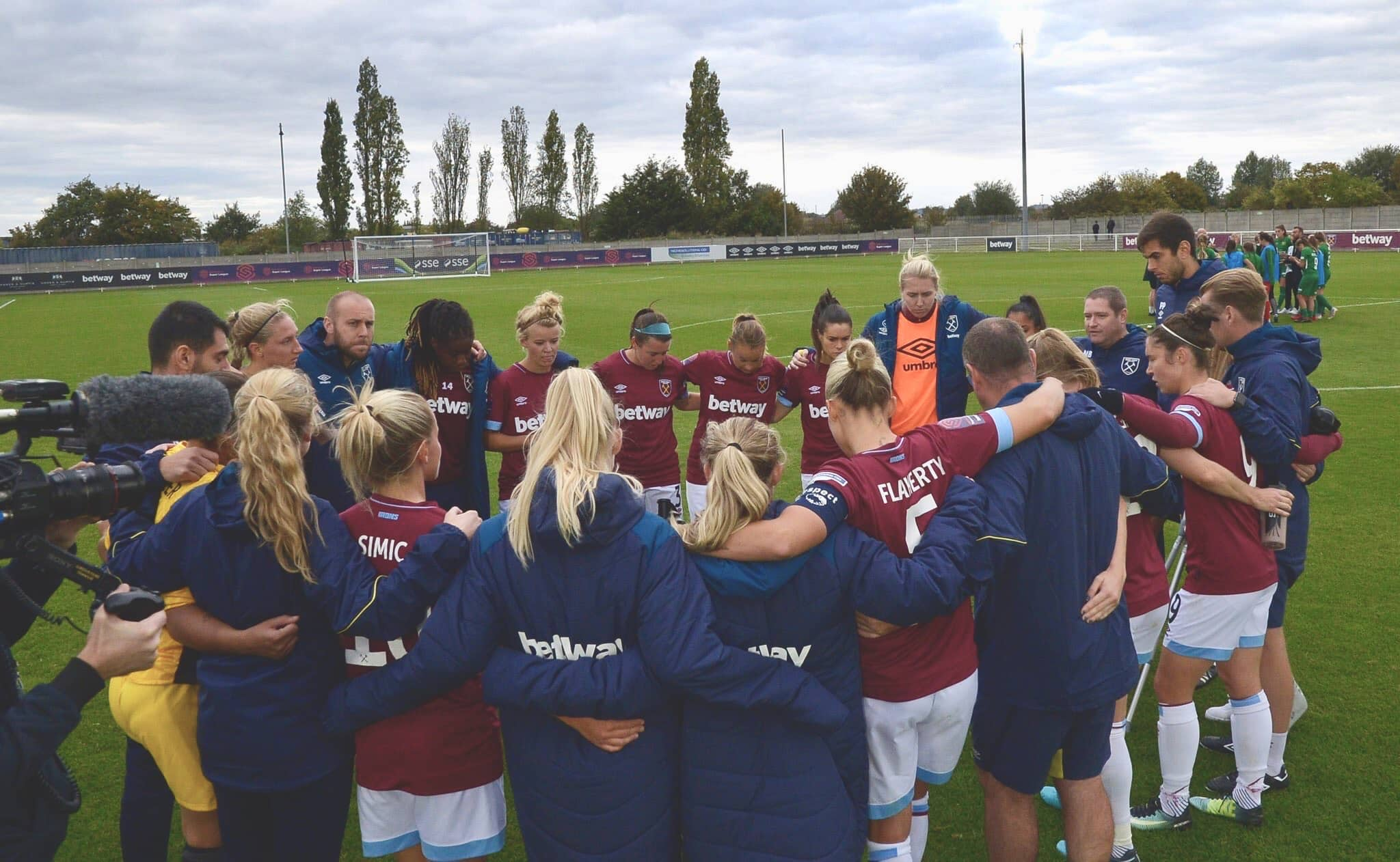 West Ham United Women during a post match huddle