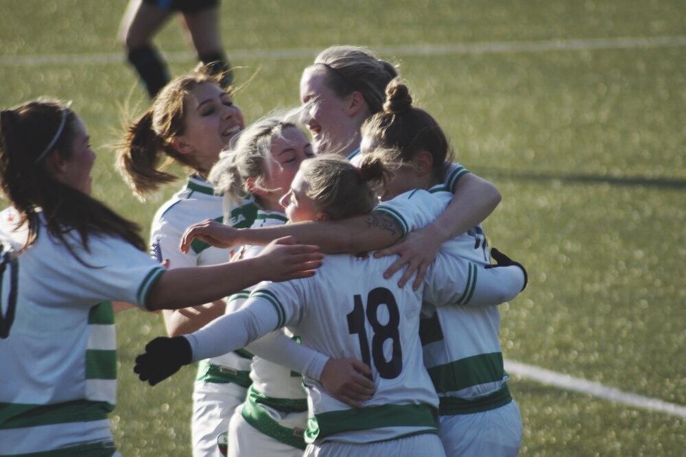 The New Saints Ladies FC Celebrating. Taken by Adam Nunn.