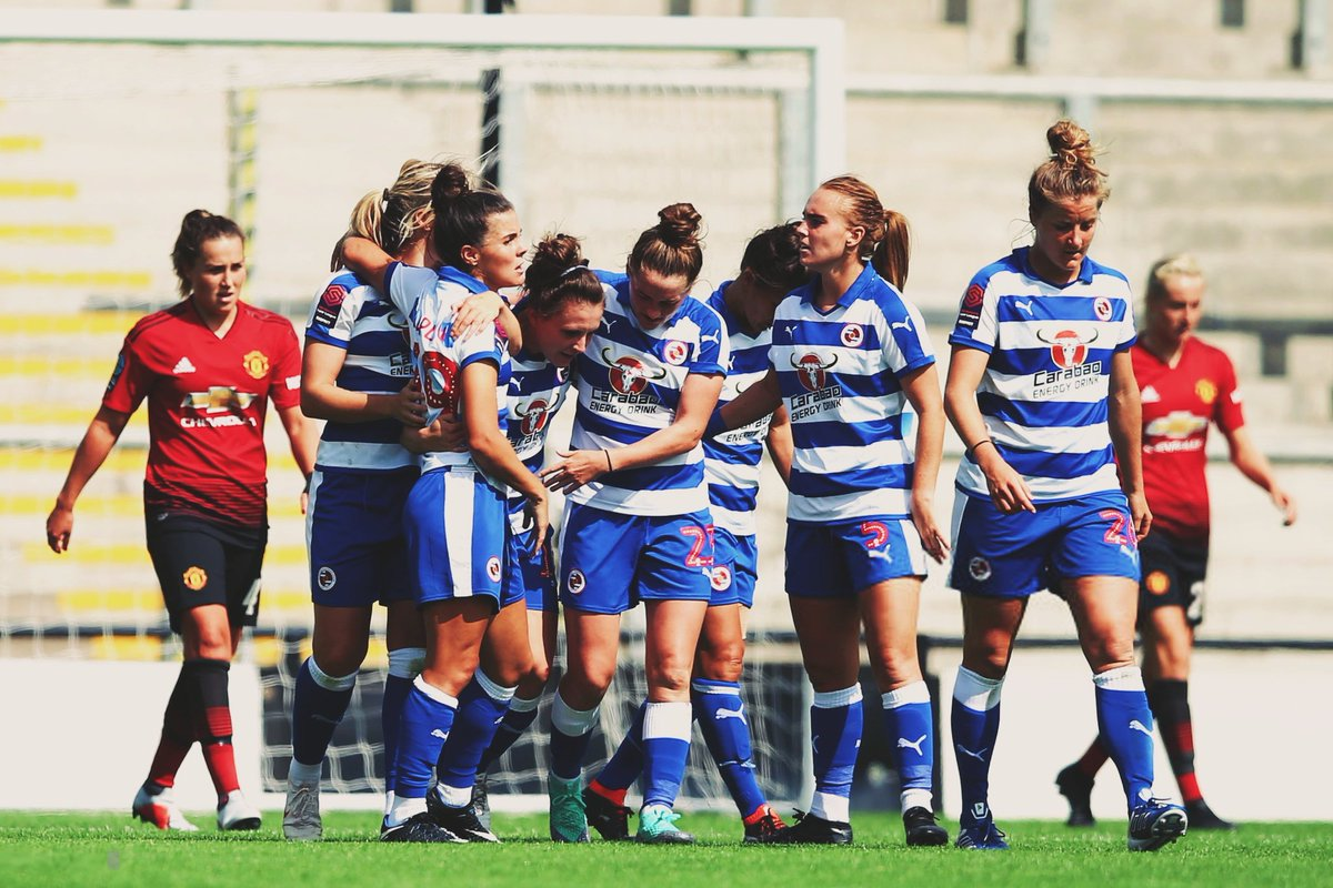 Reading Women celebrate scoring against Manchester United Women in the Conti Cup back in August.