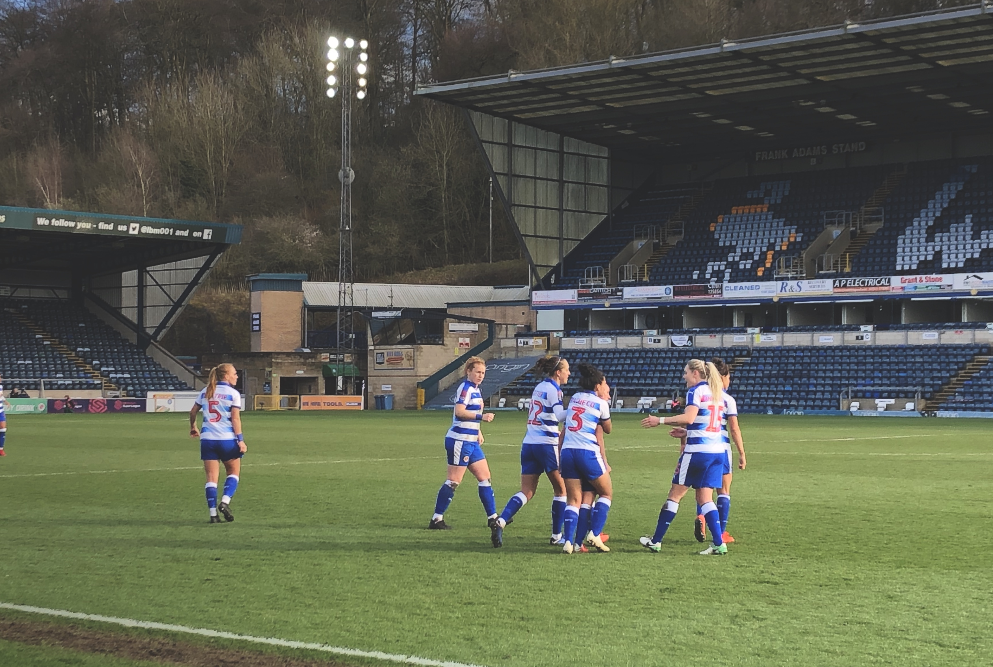 Reading Women celebrate equalising against Manchester United Women