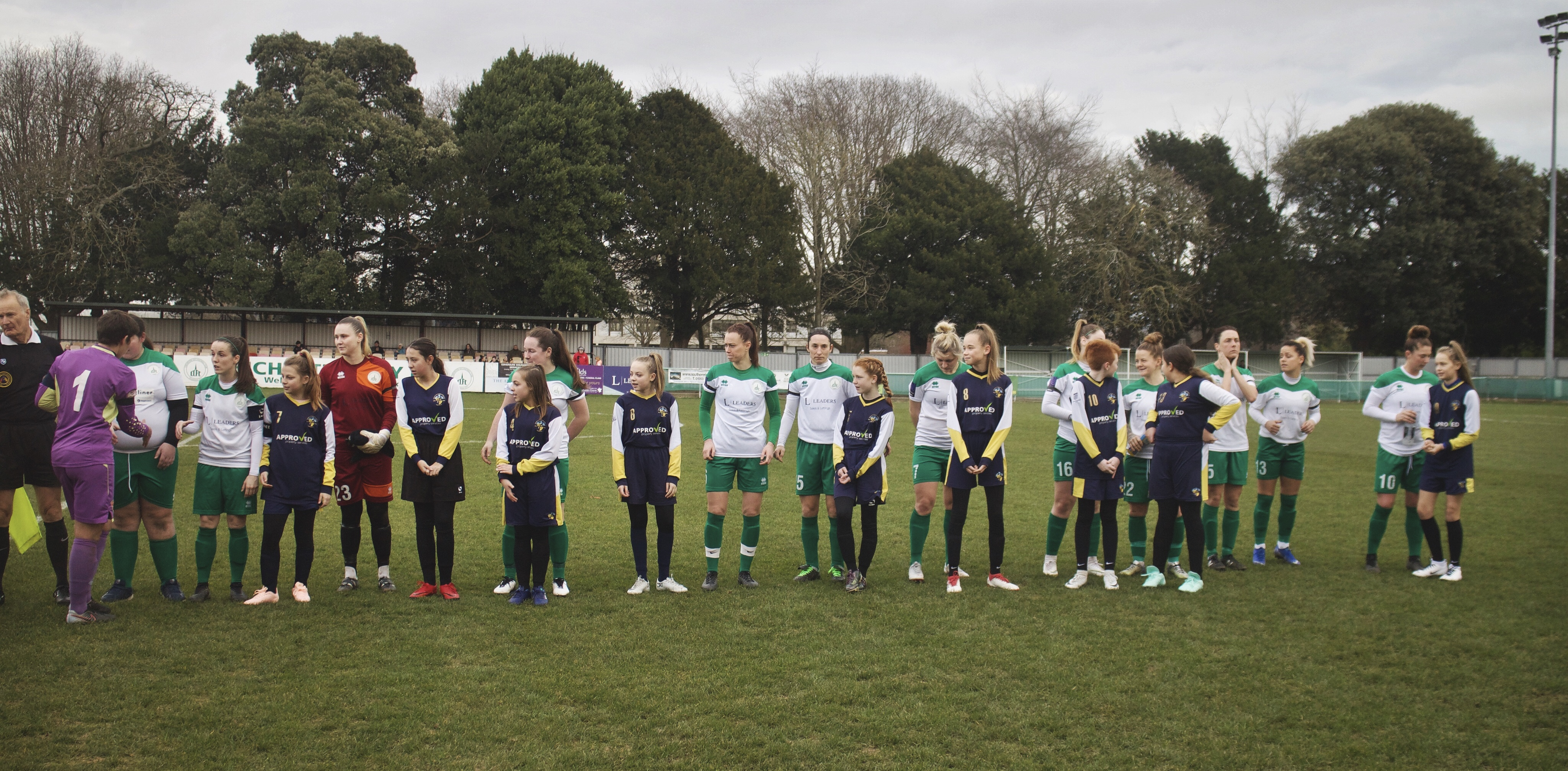Havant & Waterlooville Girls with Chichester City Ladies prior to their National League tie against Coventry United.