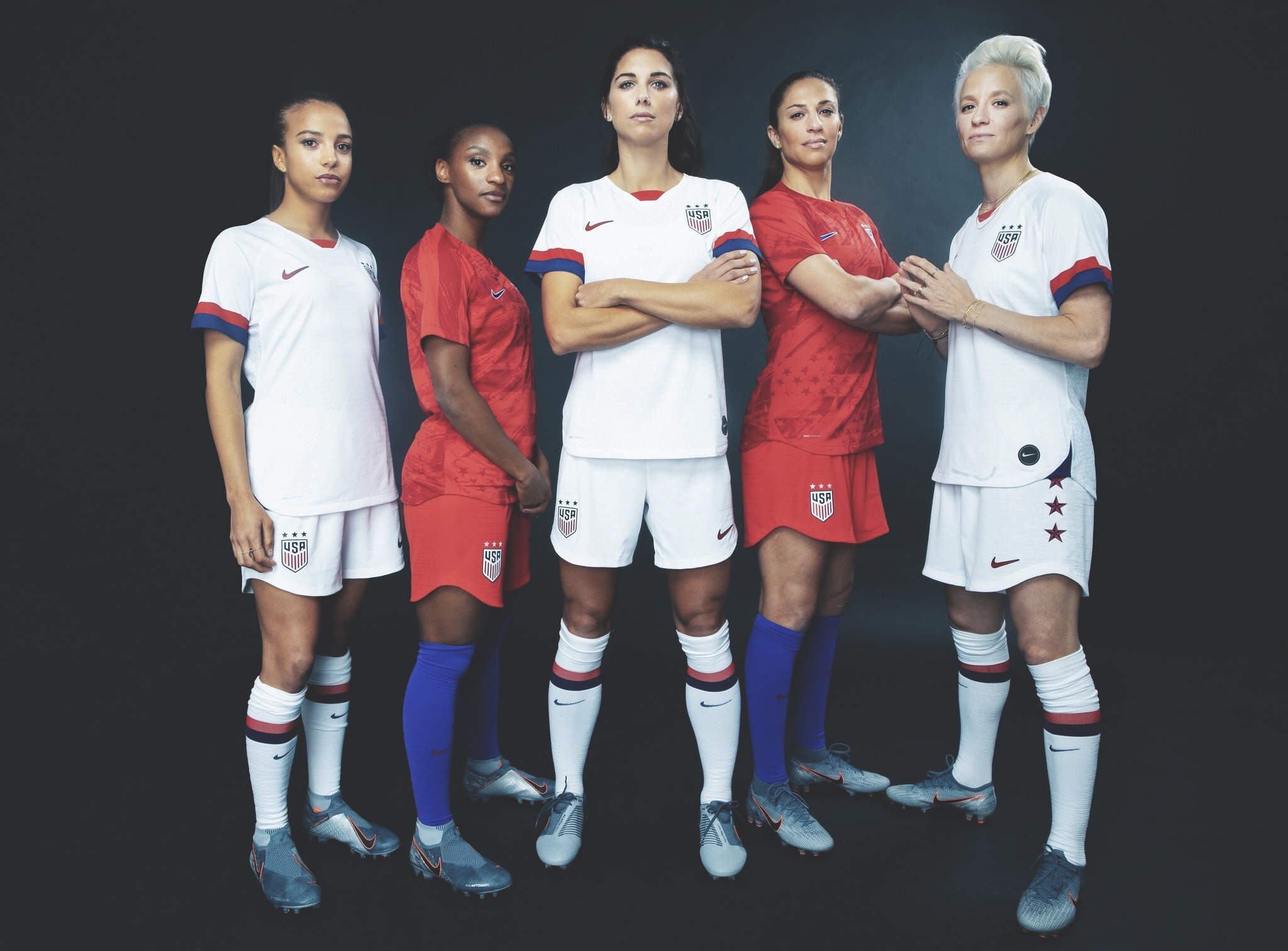 The US Women's national team modelling their new home and away kit for the 2019 World Cup