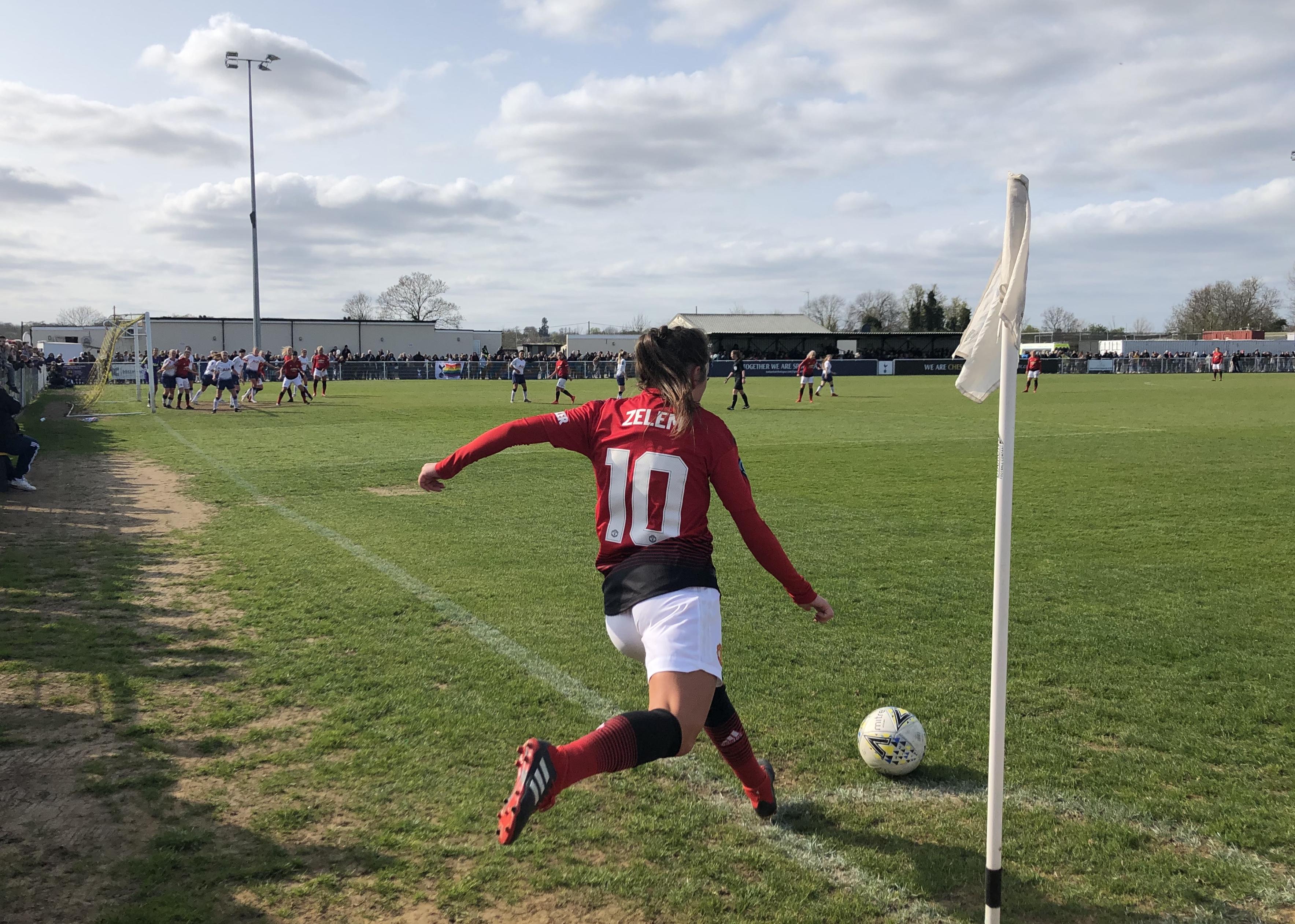 Katie Zelem strikes a free kick against Tottenham.