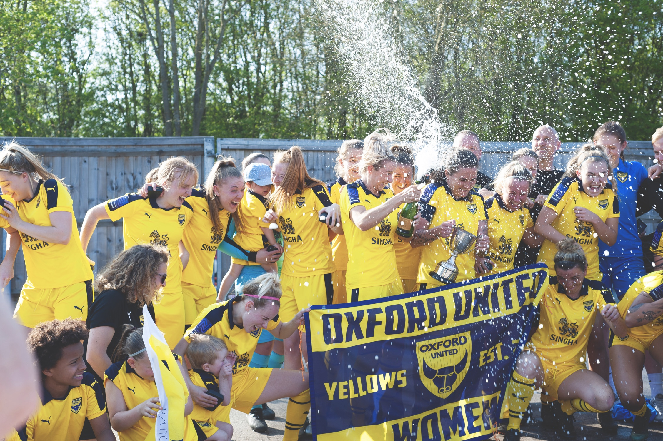 Oxford United celebrate after a local cup win. Photo by @TimAngerPhoto