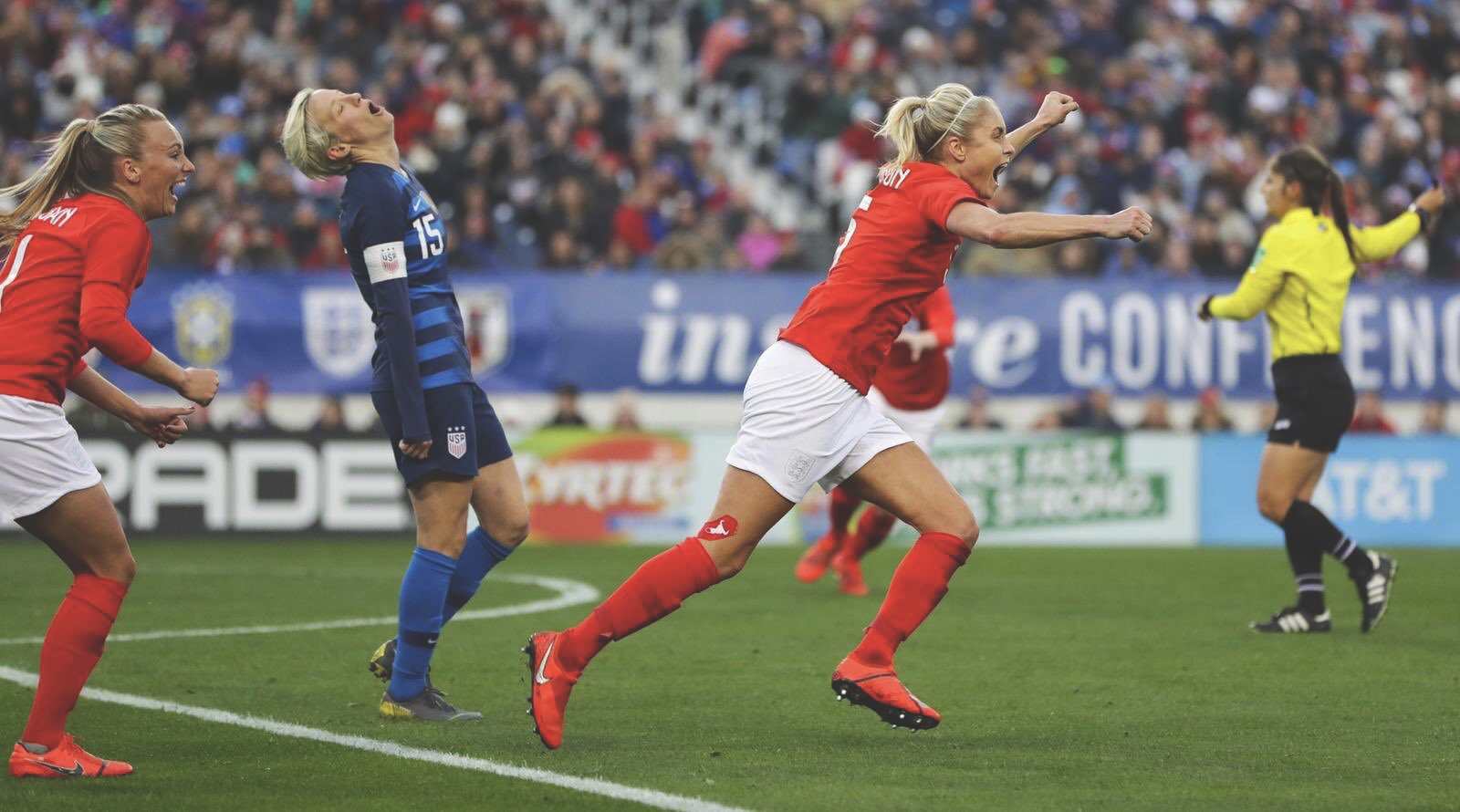 Steph Houghton celebrates scoring against the USA in the She Believes Cup. Photo from @StephHoughton2