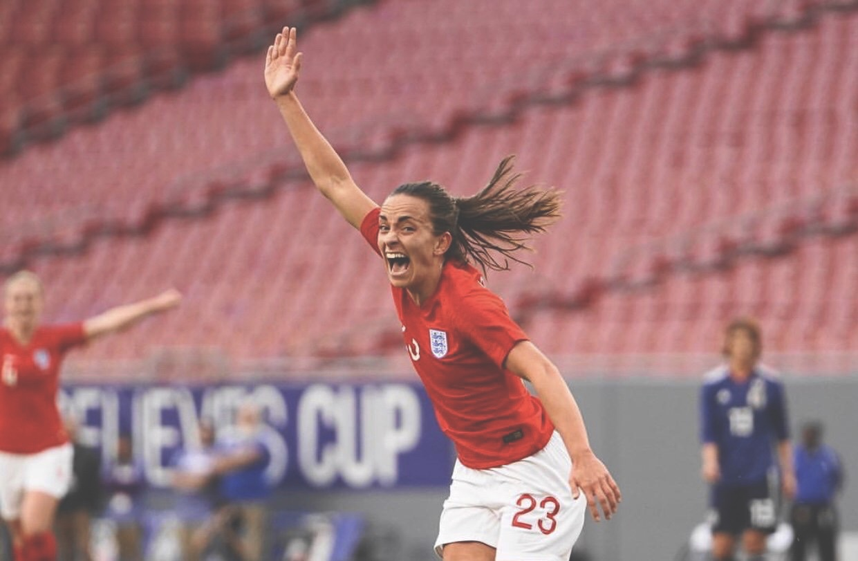 Staniforth embracing her inner Shearer after scoring for England. Photo from @LStan37