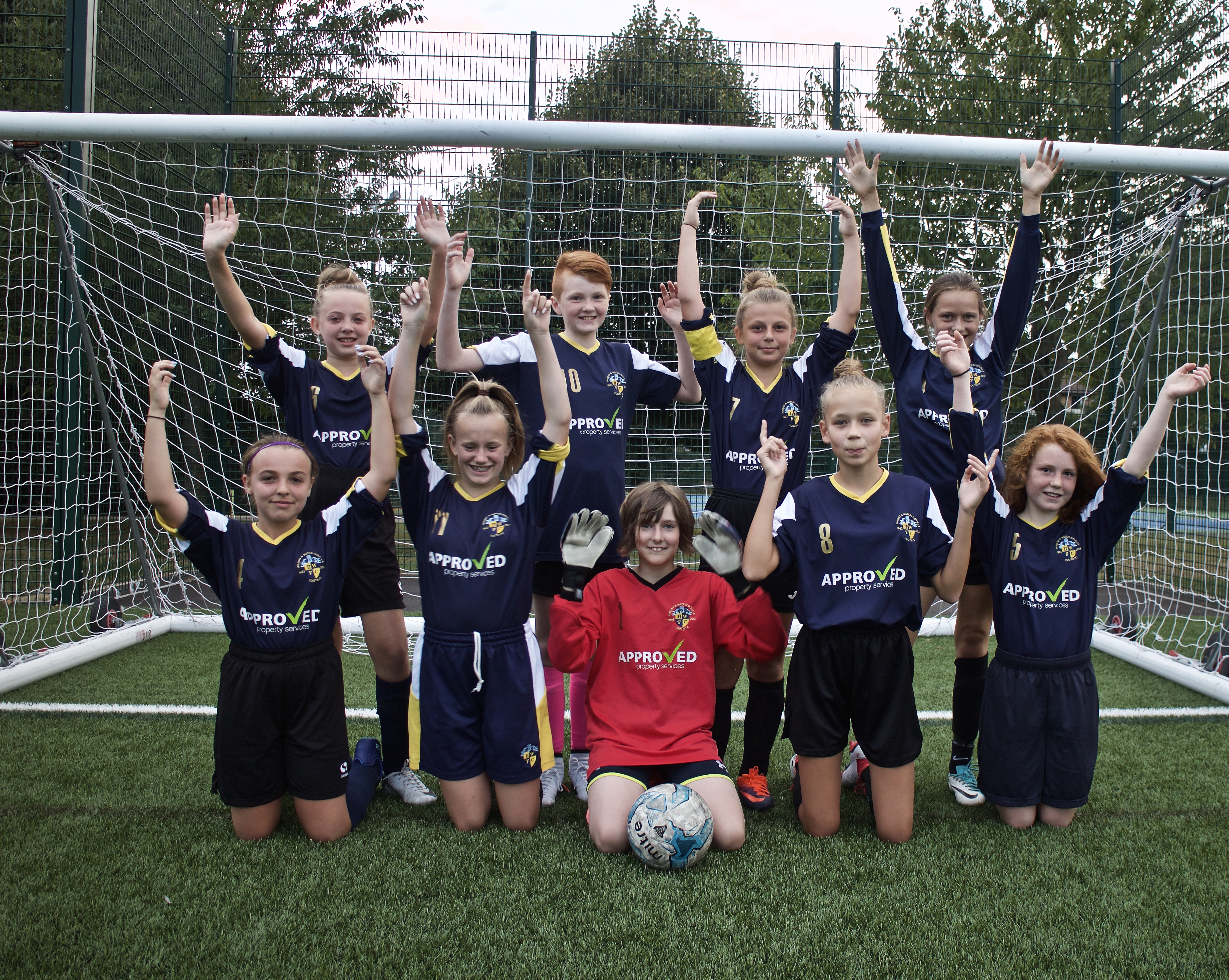 Havant & Waterlooville Girls U13s team photo after their very first friendly against Romsey Town