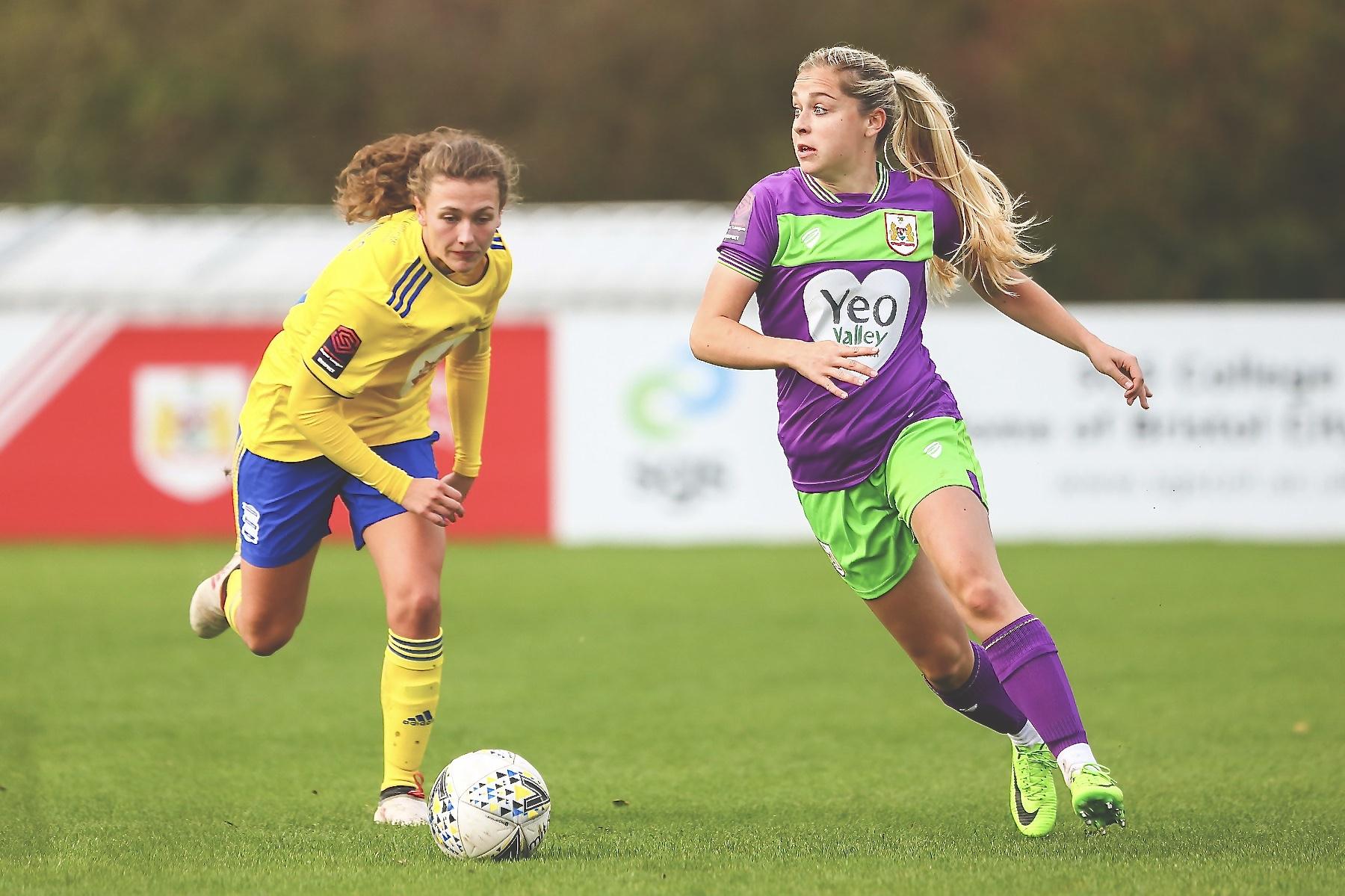 Poppy Pattinson during Bristol City Women's 1-0 defeat against Birmingham City Women