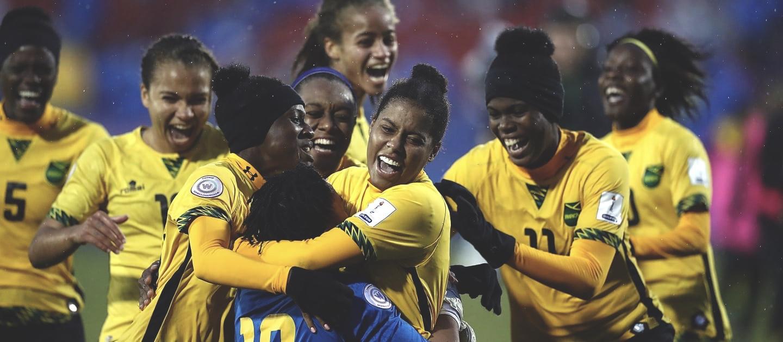 Jamaica Women's team celebrate their win over Panama