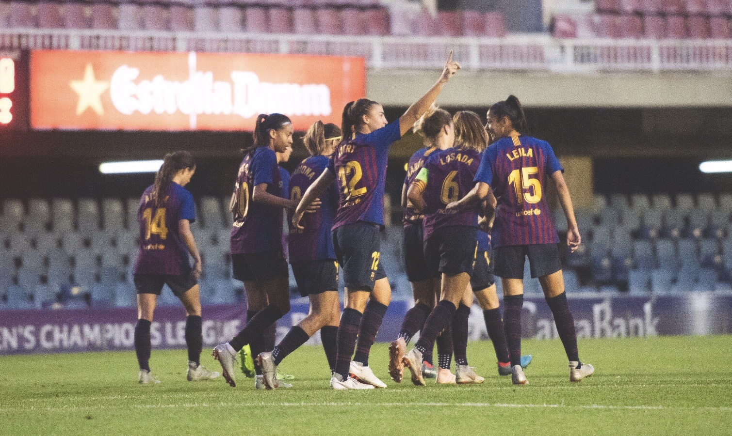 FC Barcelona Femení celebrate scoring against Glasgow City in the Women's Champions League