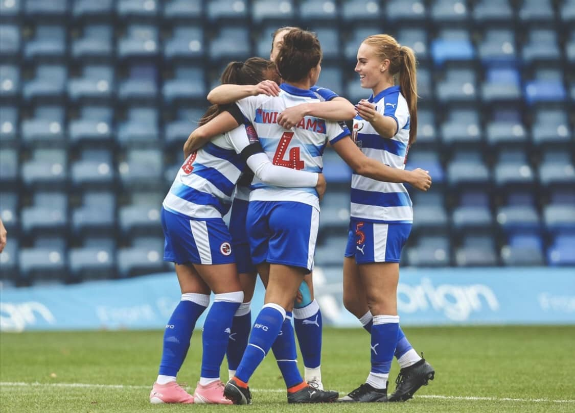 Fara Williams and her Reading FC women team mates celebrate a goal