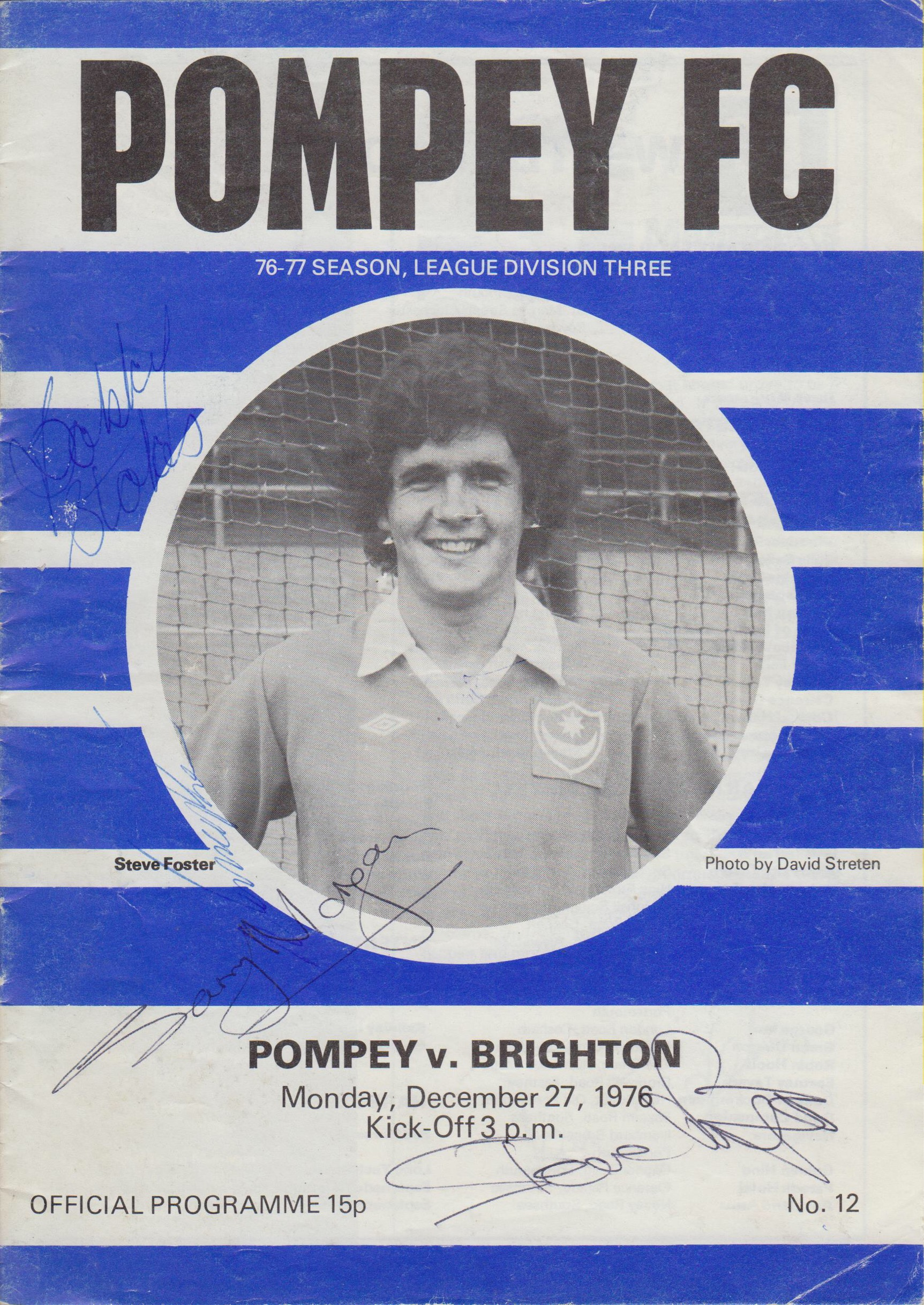 Modern Portsmouth FC Programme inspired by one for the 70's.
