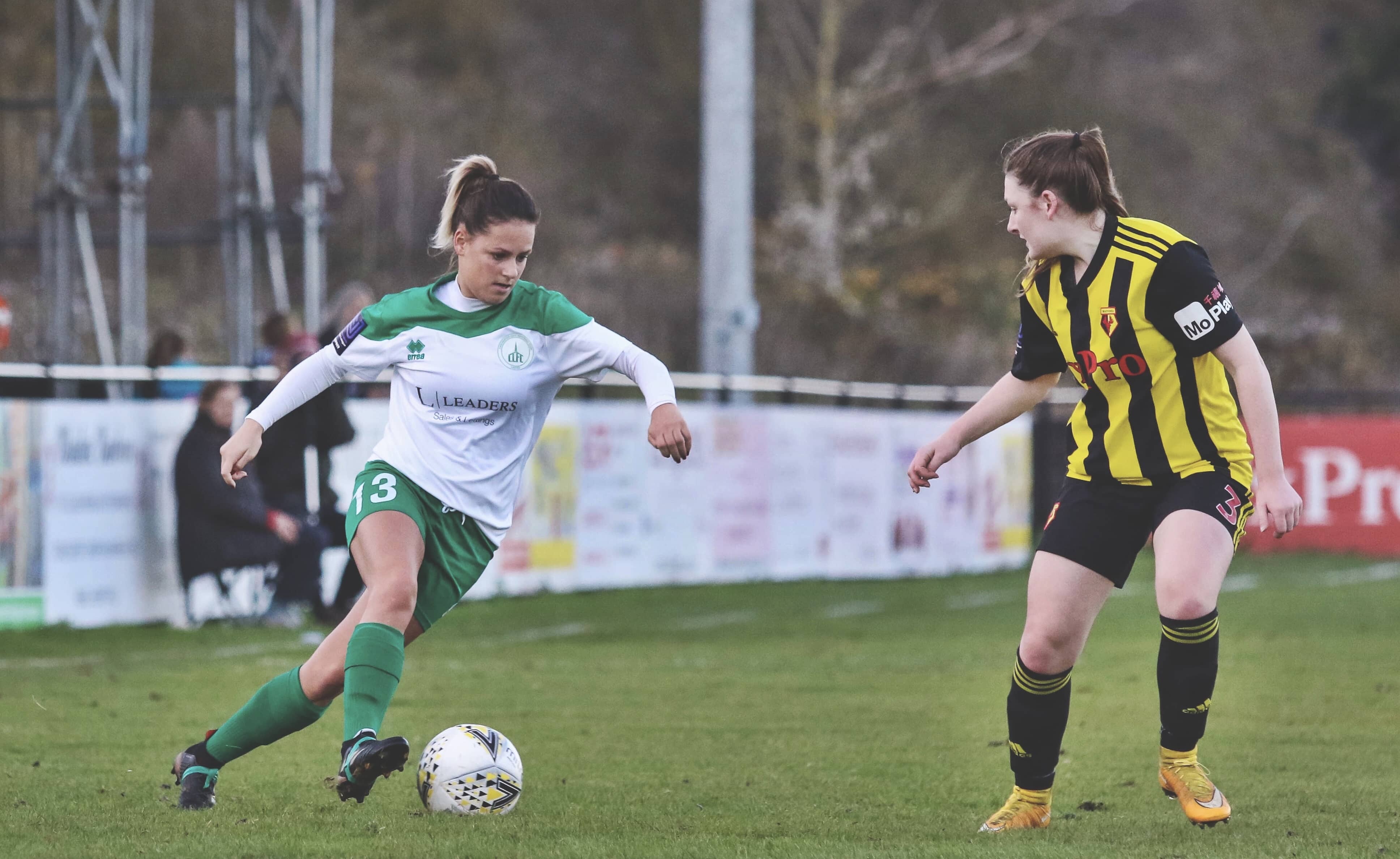 Chichester's Khassel takes on a Watford Ladies defender. Photo by Sheena Booker.