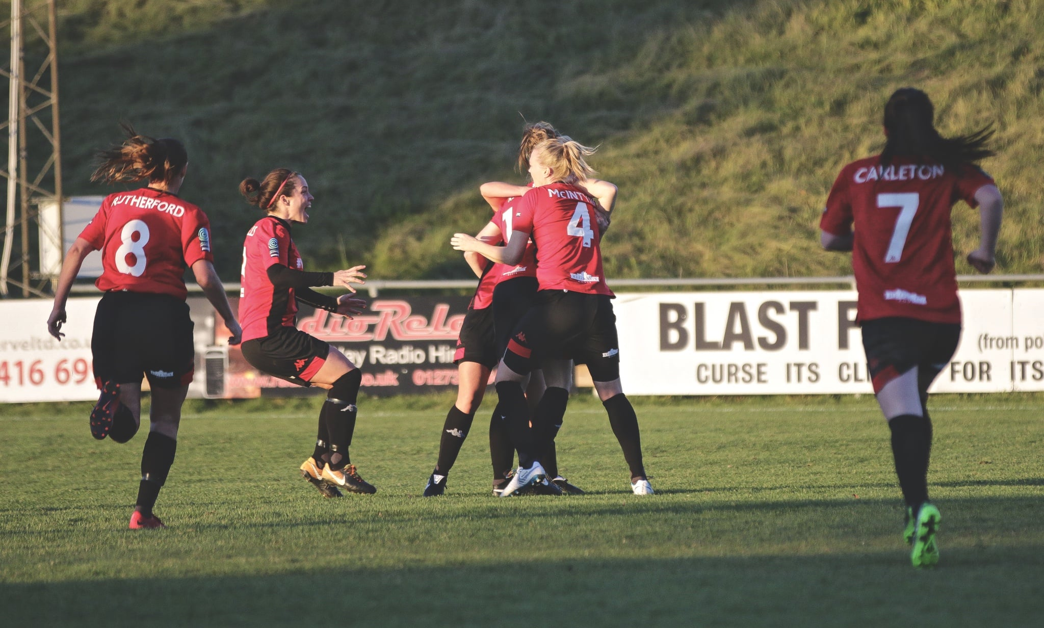 Lewes Women celebrate their equaliser against Aston Villa. Photo by James Boyes