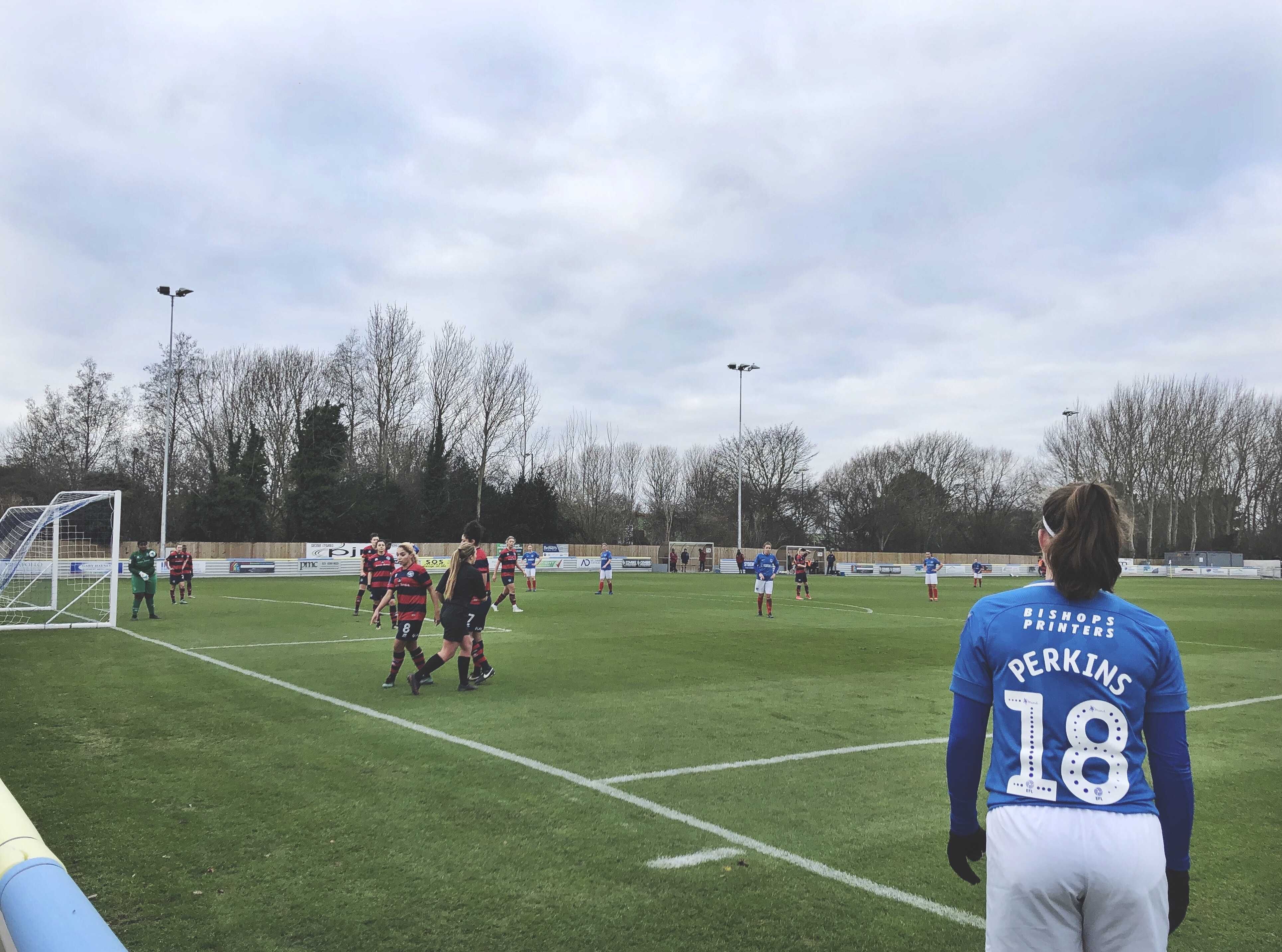 Carla Perkins prepares to take a free kick for Portsmouth Women.