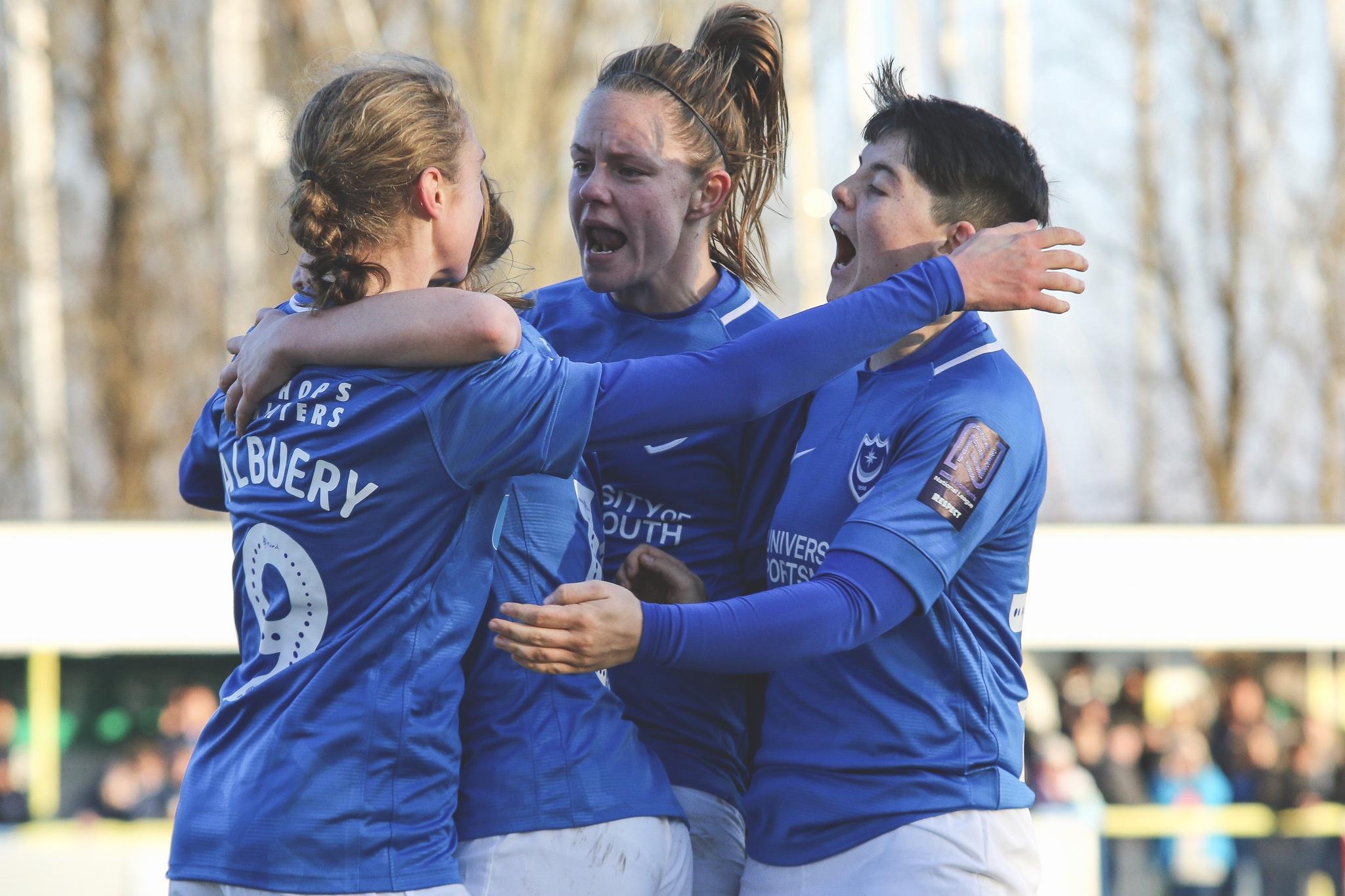 Katie James and the Portsmouth FC Women celebrating. Taken by Jordan Hampton.