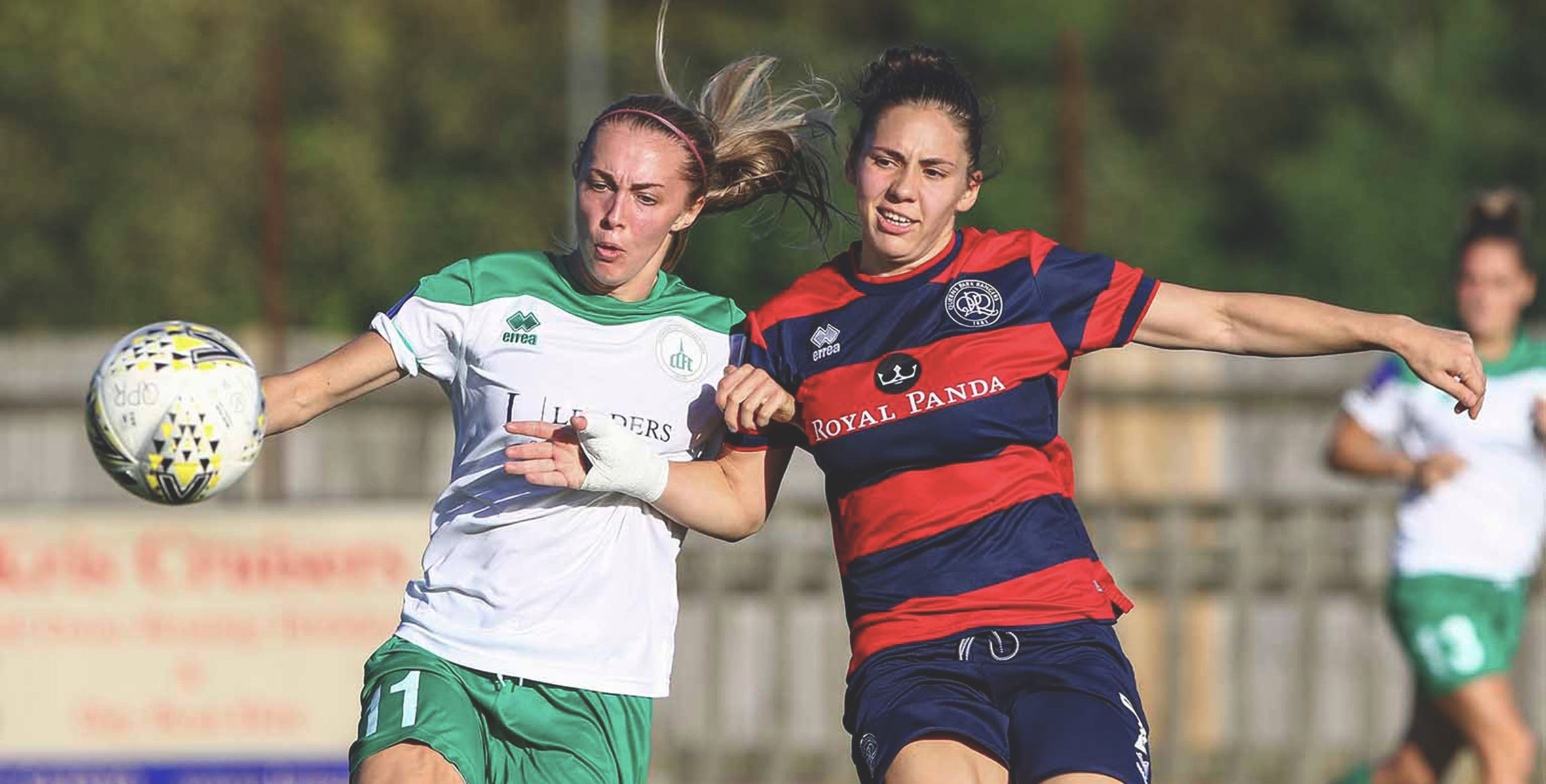 Tash Stephens (left) opened the scoring early. Photo from @QPRWFC