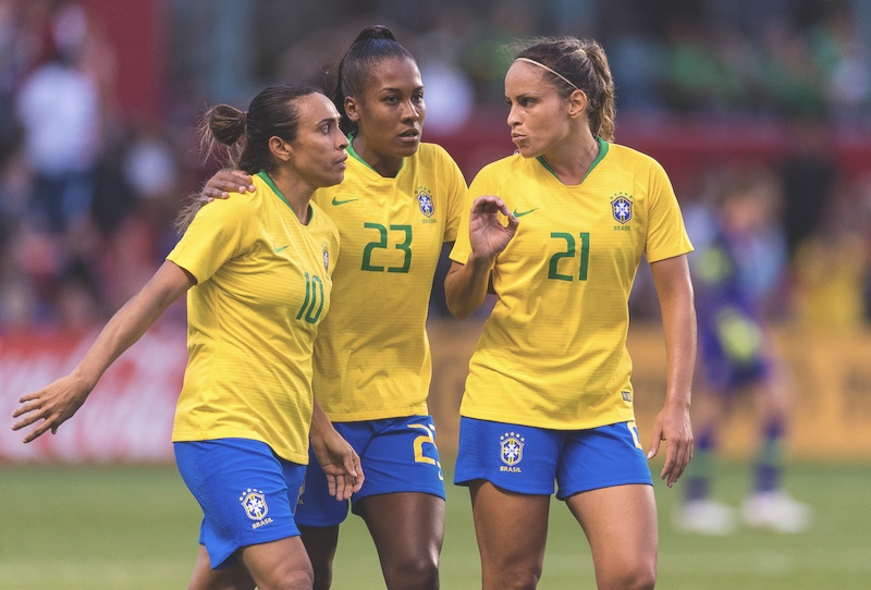Marta with her Brazil teammates during the She Believes Cup in the United States.